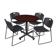 Regency 36-inch Round Laminate Mahogany Table with Zeng Stacker Chairs, Black