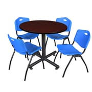 Regency 36-inch Round Laminate Mahogany Table with 4 M Stacker Chairs, Blue
