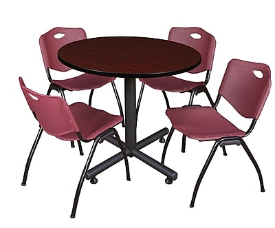 Regency 36-inch Round Laminate Mahogany Table with 4 M Stacker Chairs, Burgundy