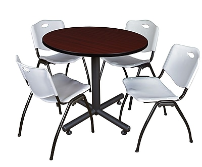 Regency 36-inch Round Laminate Mahogany Table with 4 M Stacker Chairs, Gray