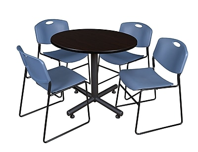 Regency 36-inch Round Mocha Walnut Table with Zeng Stacker Chairs, Blue