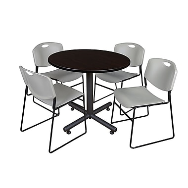 Regency 36-inch Round Mocha Walnut Table with Zeng Stacker Chairs, Gray