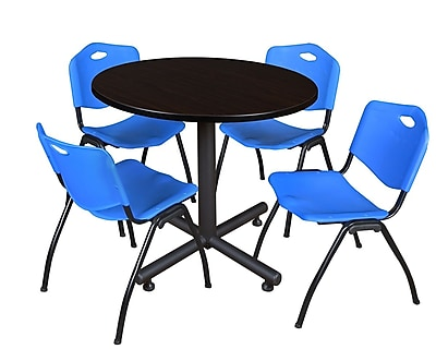 Regency 36-inch Round Kobe Break Room Table with Stack Chairs, Blue