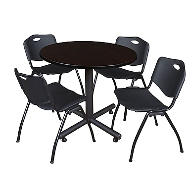Regency 36-inch Round Kobe Break Room Table with Stack Chairs, Black