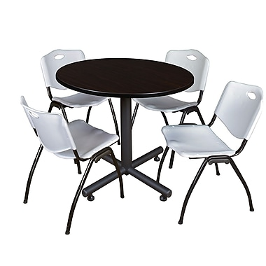 Regency 36-inch Round Kobe Break Room Table with Stack Chairs, Gray