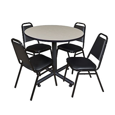 Regency 36-inch Round Laminate Table With 4 Restaurant Stack Chairs, Maple