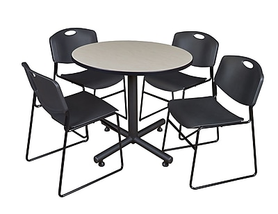 Regency 36-inch Round Table Maple With 4 Zeng Stacker Chairs, Black