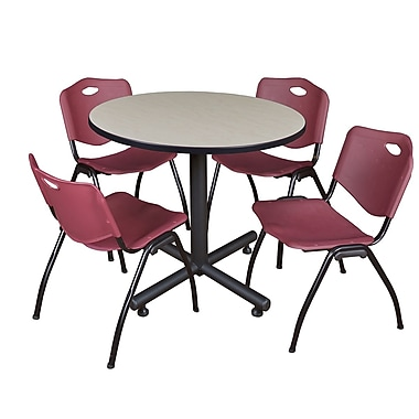 Regency 36-inch Round Laminate Maple Training Rooms Table with 4 M Stacker Chairs, Burgundy