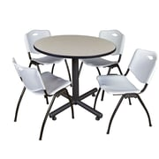 Regency 36-inch Round Laminate Maple Training Rooms Table with 4 M Stacker Chairs, Gray