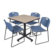 """Regency Kobe 42"""" Square Break Room Table, Beige and 4 Zeng Stack Chairs, Blue (TKB4242BE44BE)"""