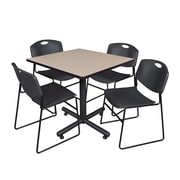 Regency 42-inch Square Laminate Table Beige With Zeng Stacker Chairs, Black