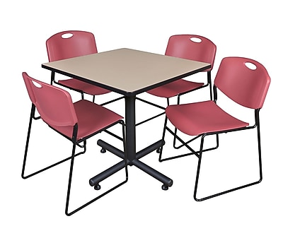 Regency 42-inch Square Laminate Table Beige With Zeng Stacker Chairs, Burgundy