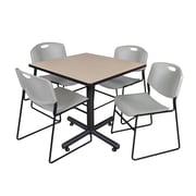 "Regency Kobe 42"" Square Breakroom Table, Beige and 4 Zeng Stack Chairs, Gray (TKB4242BE44GY)"