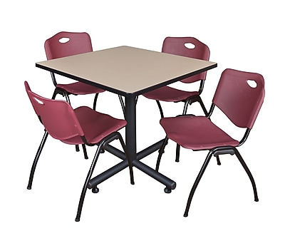 Regency 42-inch Square Laminate Beige Table with 4 Stack Chairs, Burgundy