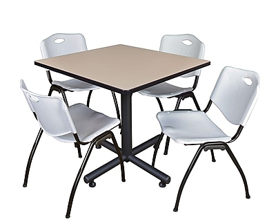 Regency 42-inch Square Laminate Beige Table with 4 Stack Chairs, Gray