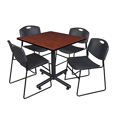 Regency 42-inch Square Laminate Table Cherry With Zeng Stacker Chairs, Black