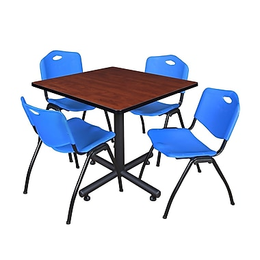 Regency 42-inch Square Laminate Room Table with 4 Stack Chairs, Blue