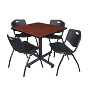 """Regency Kobe 42"""" Square Breakroom Table, Cherry and 4 'M' Stack Chairs, Black (TKB4242CH47BK)"""