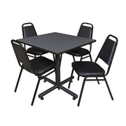 "Regency Kobe 42"" Square Break Room Table, Gray and 4 Restaurant Stack Chairs, Black (TKB4242GY29)"
