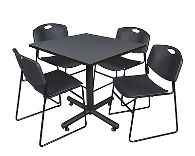 Regency 42-inch Square Laminate Table Grey With 4 Zeng Stacker Chairs, Black