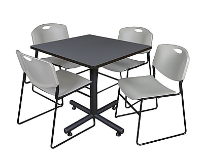Regency 42-inch Square Laminate Table Grey With 4 Zeng Stacker Chairs, Gray