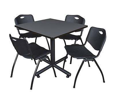 Regency 42-inch Square Laminate Table Gray 4 M Stacker Chairs, Black