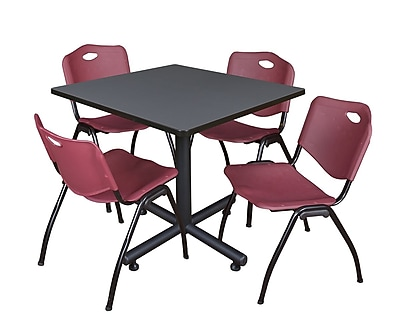 Regency 42-inch Square Laminate Table Gray 4 M Stacker Chairs, Burgundy