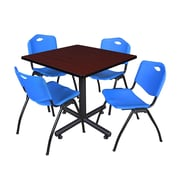 Regency 42-inch Square Laminate Table Mahogany With 4 M Stacker Chairs, Blue