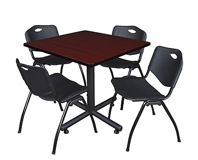 Regency 42-inch Square Laminate Table Mahogany With 4 M Stacker Chairs, Black