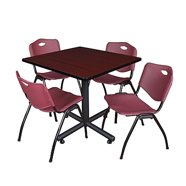 Regency 42-inch Square Laminate Table Mahogany With 4 M Stacker Chairs, Burgundy