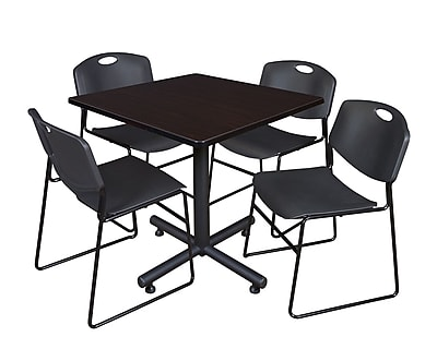 Regency 42-inch Square Laminate Mocha Walnut Table With 4 Zeng Stacker Chairs, Black