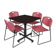 Regency 42-inch Square Laminate Mocha Walnut Table With 4 Zeng Stacker Chairs, Burgundy