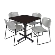 "Regency Kobe 42"" Square Break Room Table, Mocha Walnut and 4 Zeng Stack Chairs, Gray (TKB4242MW44GY)"