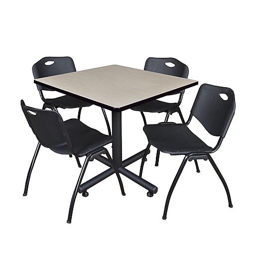 "Regency Kobe 42"" Square Break Room Table, Maple and 4 'M' Stack Chairs, Black (TKB4242PL47BK)"