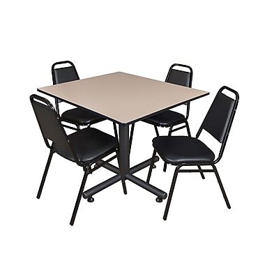 Regency 48-inch Square Laminate Table & 4 Restaurant Stack Chairs, Beige