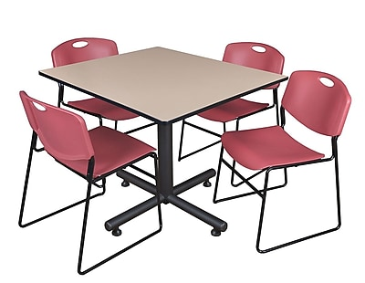 Regency 48-inch Square Laminate Beige Table With 4 Zeng Stacker Chairs, Burgundy