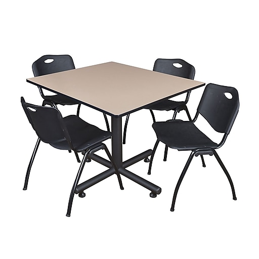 Regency 48-inch Square Laminate Beige Table with 4 M Stacker Chairs, Black
