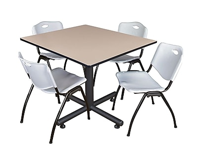 Regency 48-inch Square Laminate Beige Table with 4 M Stacker Chairs, Gray