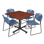 Regency 48-inch Square Laminate Cherry Table With 4 Zeng Stacker Chairs, Blue