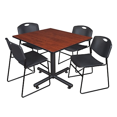 Regency 48-inch Square Laminate Cherry Table With 4 Zeng Stacker Chairs, Black