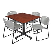 Regency 48-inch Square Laminate Cherry Table With 4 Zeng Stacker Chairs, Gray