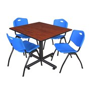 "Regency Kobe 48"" Square Break Room Table, Cherry and 4 'M' Stack Chairs, Blue (TKB4848CH47BE)"