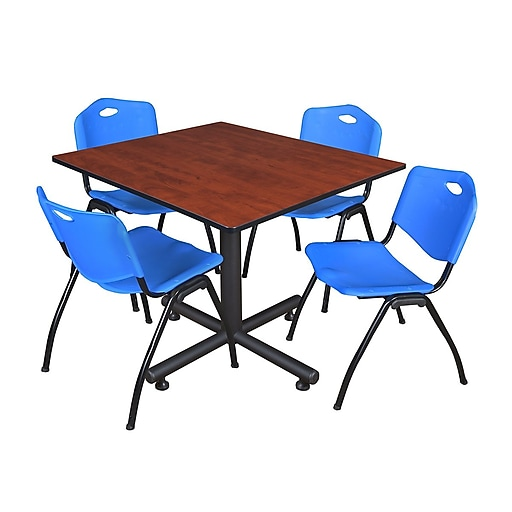 """Regency Kobe 48"""" Square Break Room Table, Cherry and 4 'M' Stack Chairs, Blue (TKB4848CH47BE)"""
