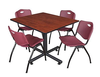 Regency 48-inch Square Laminate Cherry Table with 4 M Stacker Chairs, Burgundy