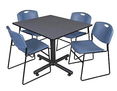 Regency 48-inch Square Laminate Table With 4 Zeng Stacker Chairs, Blue