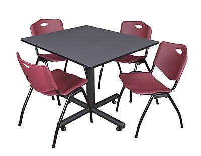 Regency 48-inch Kobe Base Square Table, Burgundy