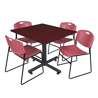 Regency 48-inch Square Mahogany Table with Zeng Stacker Chairs, Burgundy