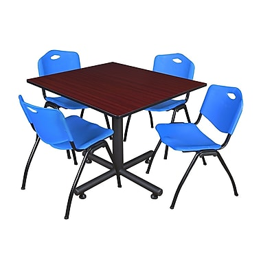 Regency 48-inch Square Table with Stacker Chairs, Blue