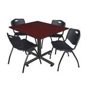 Regency 48-inch Square Table with Stacker Chairs, Black