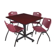 Regency 48-inch Square Table with Stacker Chairs, Burgundy